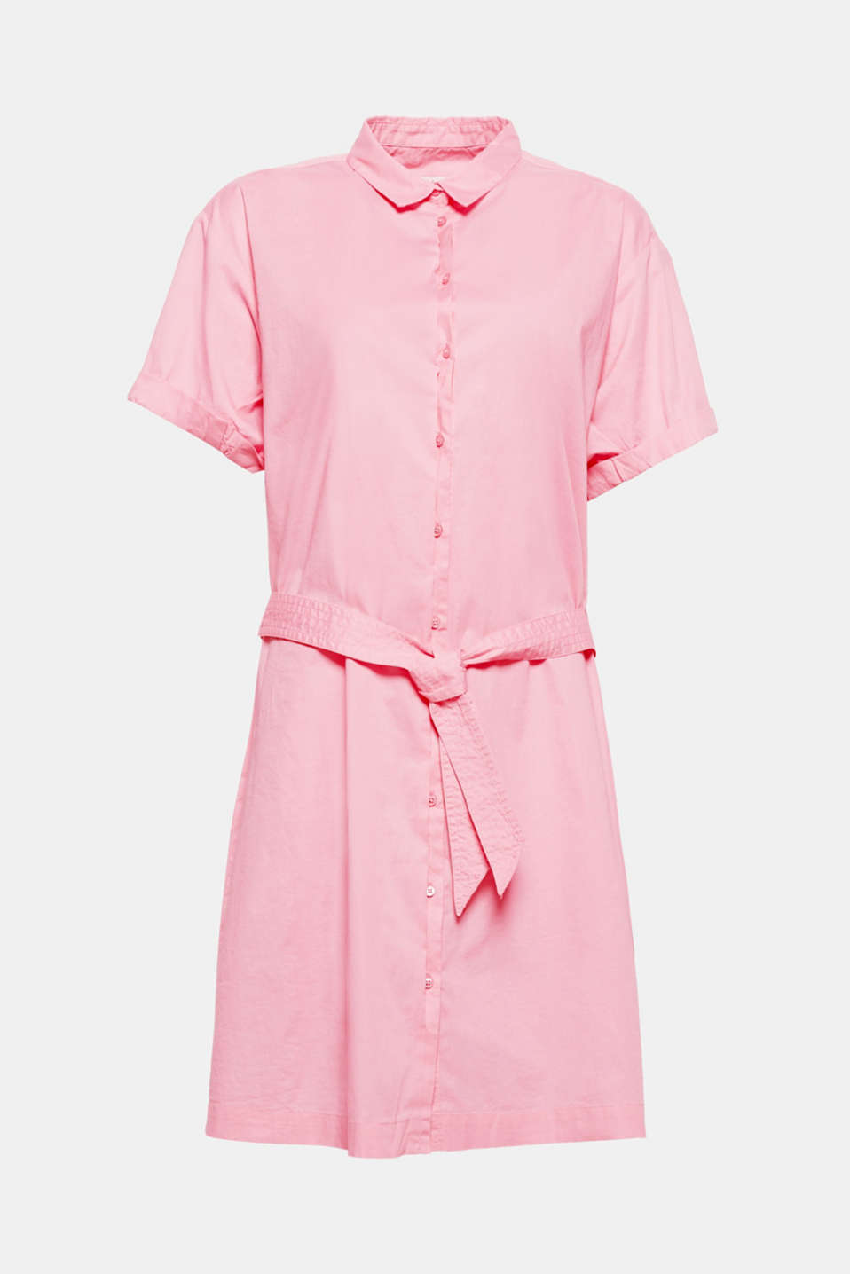 The new shirt dresses are simple and cool, just like this style crafted from stretch cotton with a semi-concealed button placket, tie-around belt and wide sleeves!