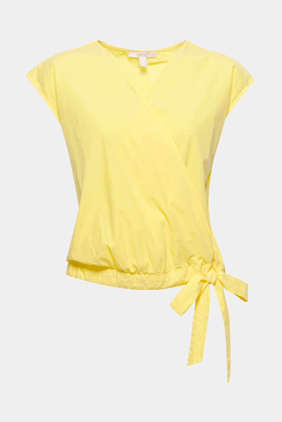The trend colour yellow takes centre stage: lightweight poplin blouse with a wrap-over effect and drawstring panel with a bow at the side!