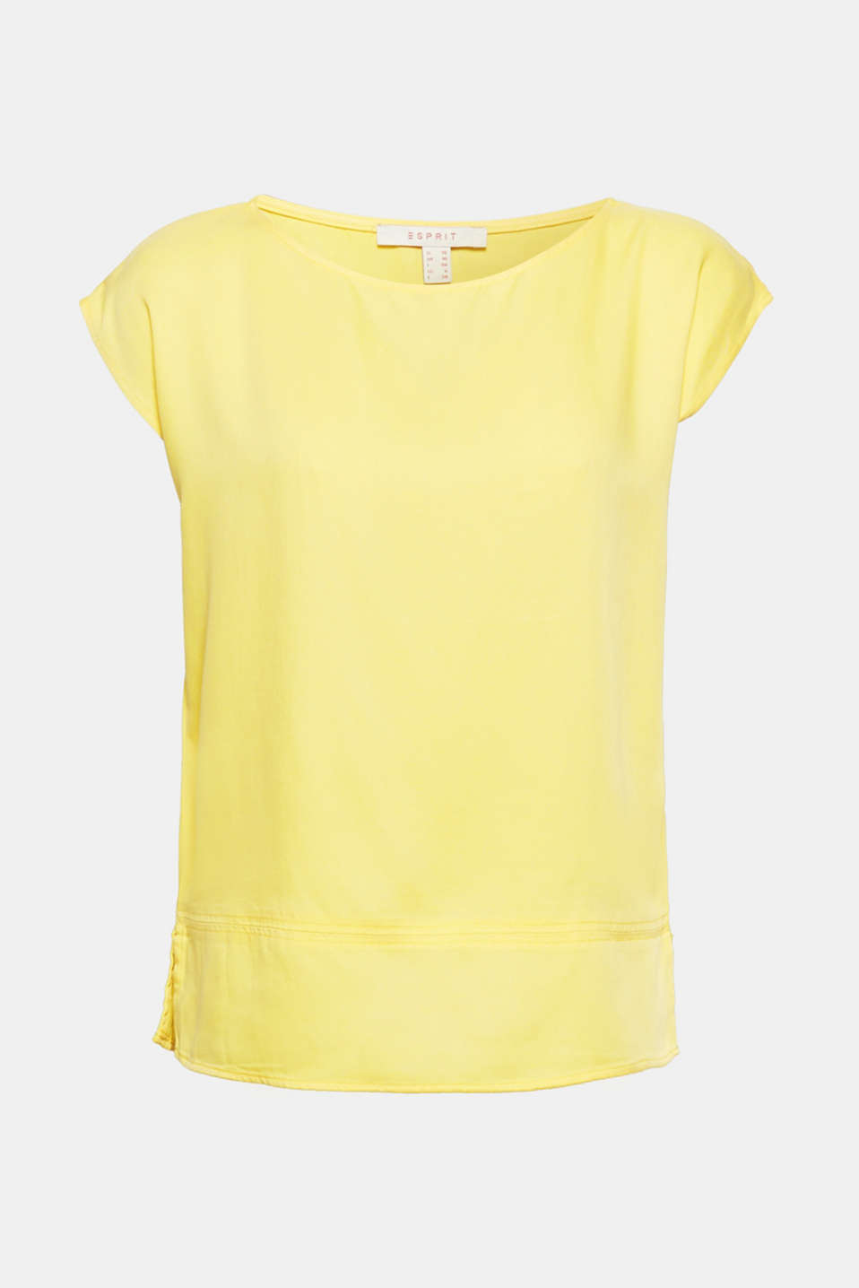 Gives your look the perfect summery boost: fashionable blouse top in luminous yellow made of soft draped fine textured lyocell.