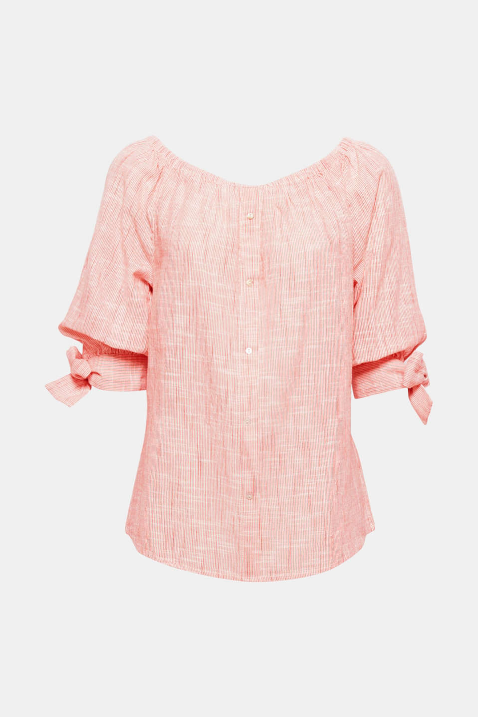 Show off your shoulders! Showcase your shoulders to maximum effect with this off-the-shoulder blouse made of lightweight cotton with a striped pattern and sleeve ties.