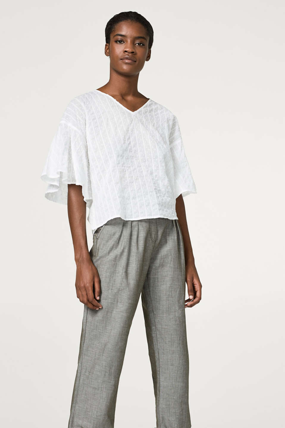Esprit - Textured cotton blouse with batwing sleeves