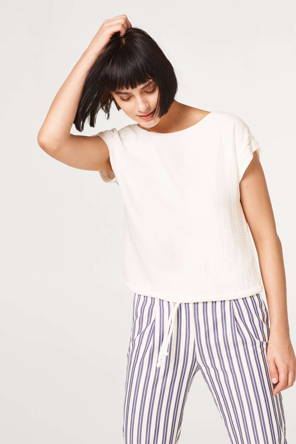 Esprit - Soft textured cotton blouse with a drawstring