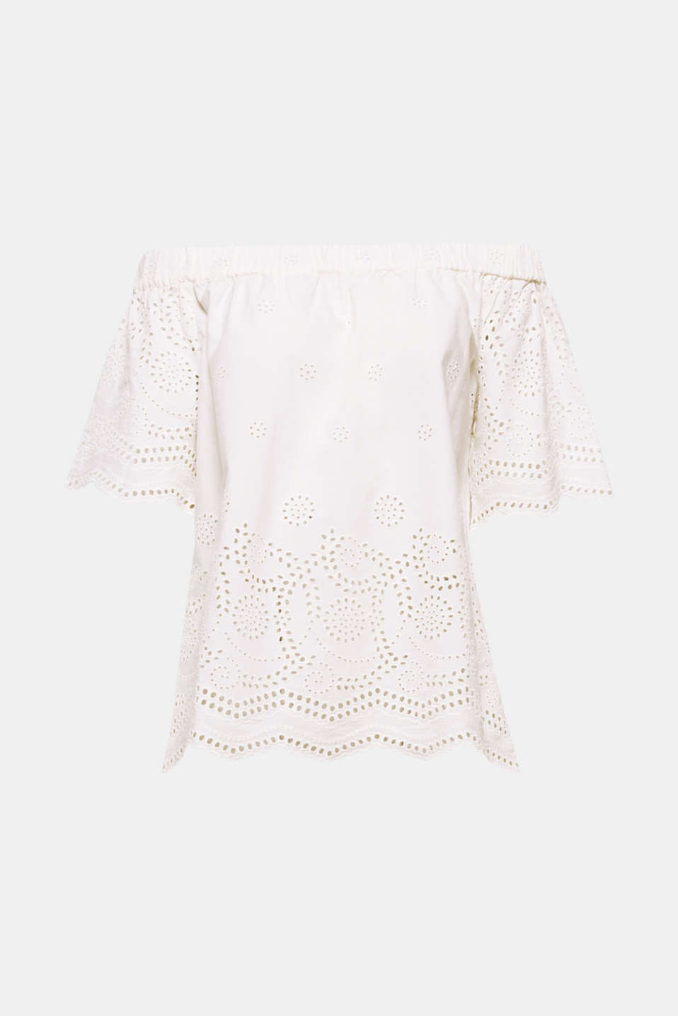We love broderie anglaise... and this blouse top in an off-the-shoulder style with an elasticated neckline trim, short raglan sleeves and a slightly flared silhouette!
