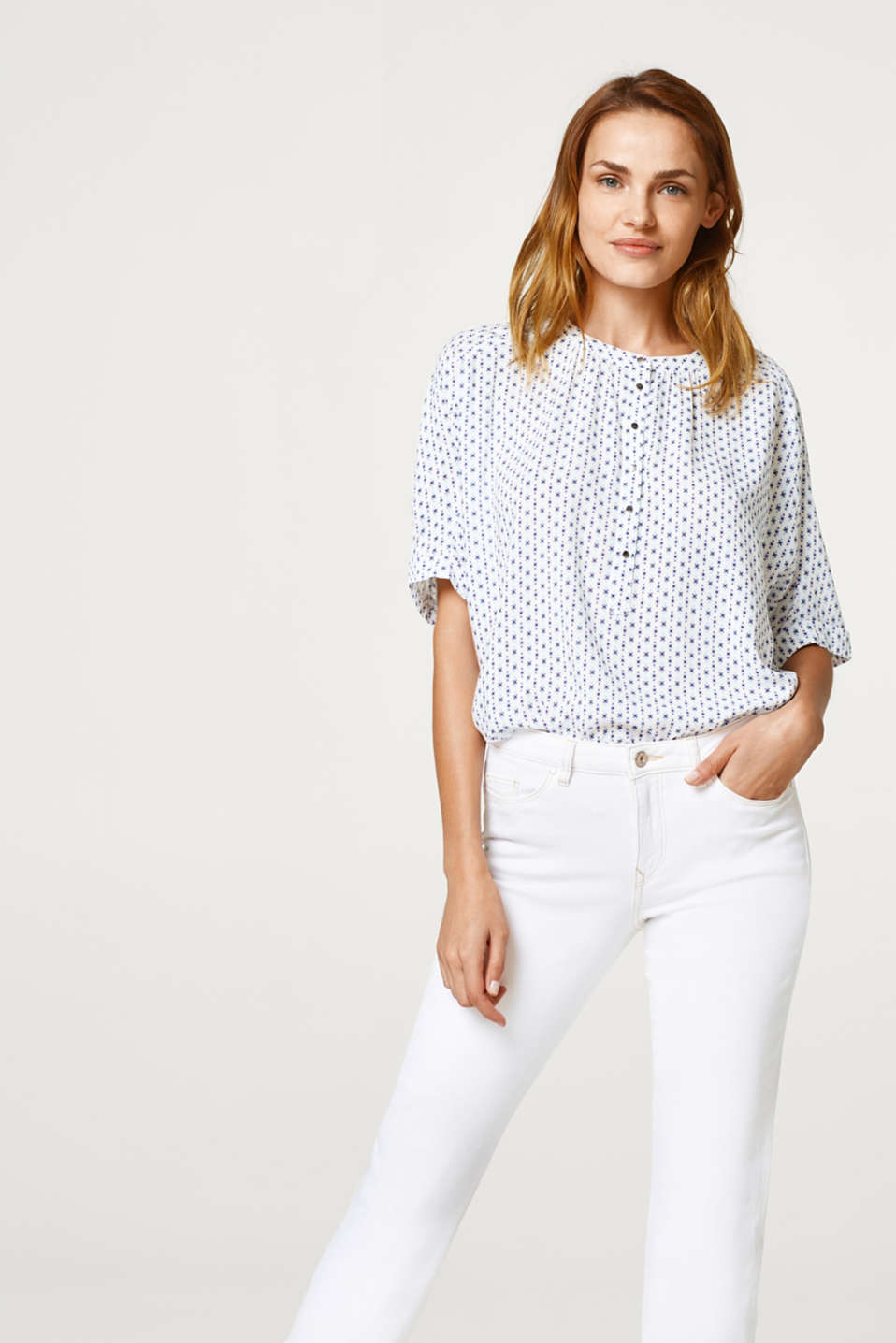 Esprit - Fine blouse à imprimé minimaliste all-over