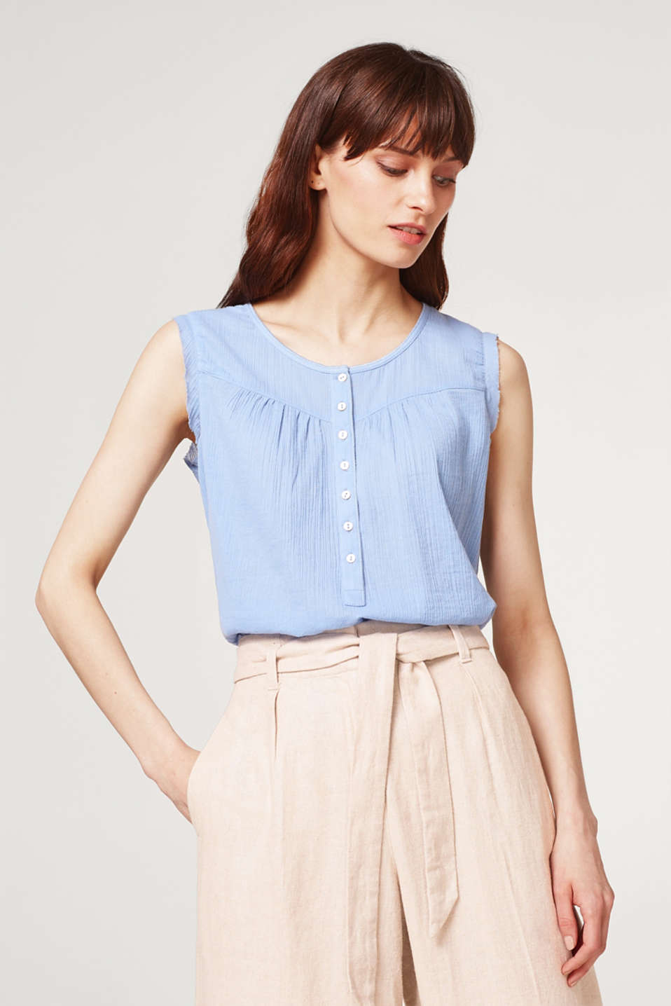 Esprit - Blouse top in a crinkle look, 100% cotton