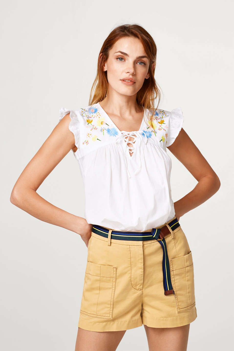 Esprit - 100% cotton blouse with embroidery and lacing