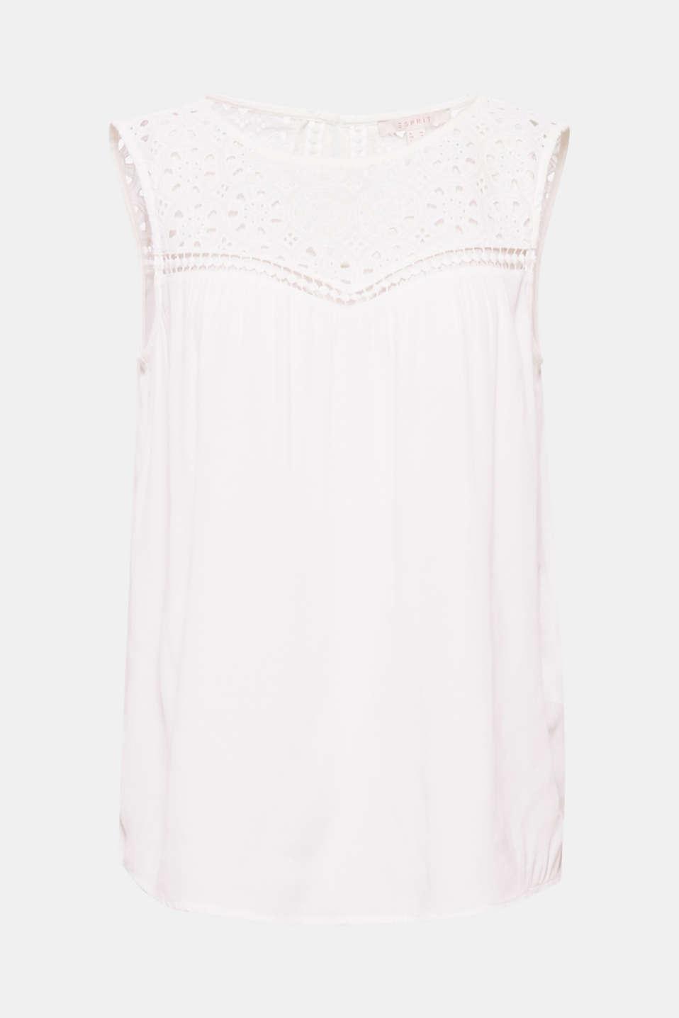 Summer trend - broderie anglaise: decorating the bust area as a deep neckline yoke on this silky blouse!