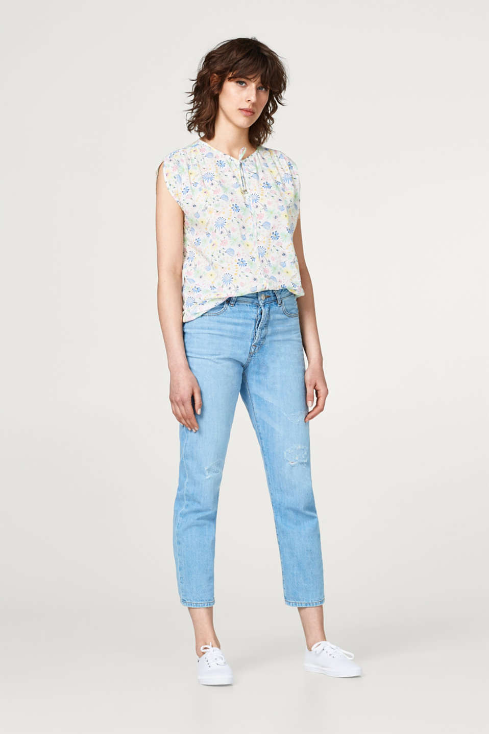 Blouse top with colourful floral print
