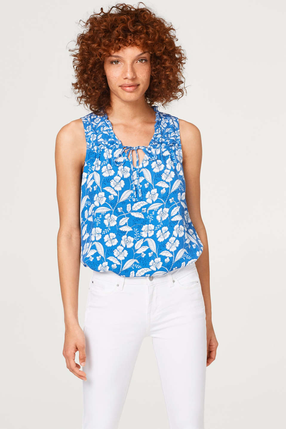 Esprit - Blouse top with a frilly neckline