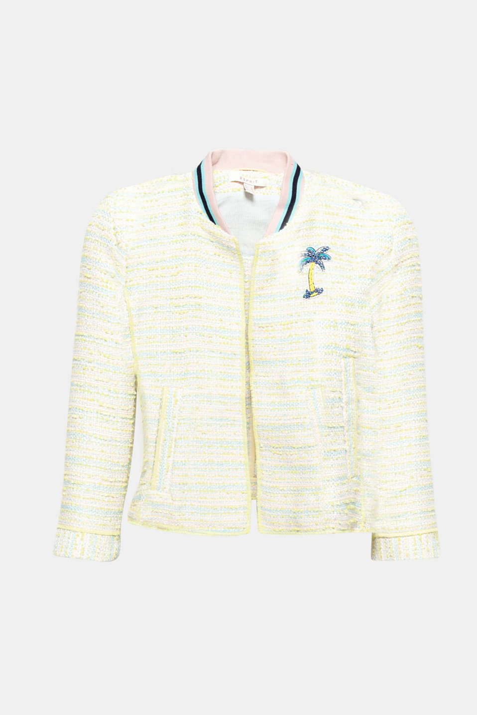 Fashion piece: The neon yellow and pastel colours, striped ribbed collar and appliquéd rhinestone palm make this short fitted jacket in summer bouclé a fashionable highlight!