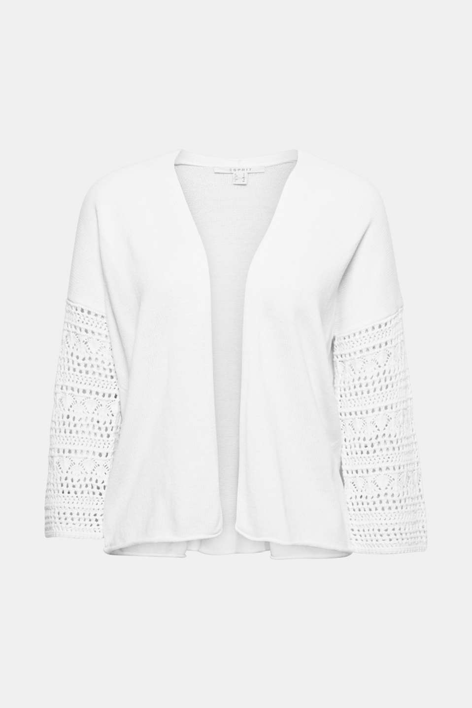 This cardigan made of soft cotton yarn with beautifully crocheted, three-quarter length sleeves is an on-trend spring all-rounder!
