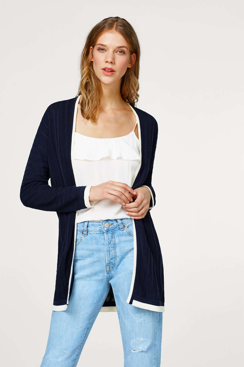 Esprit - Long cardigan with textured stripes, 100% cotton