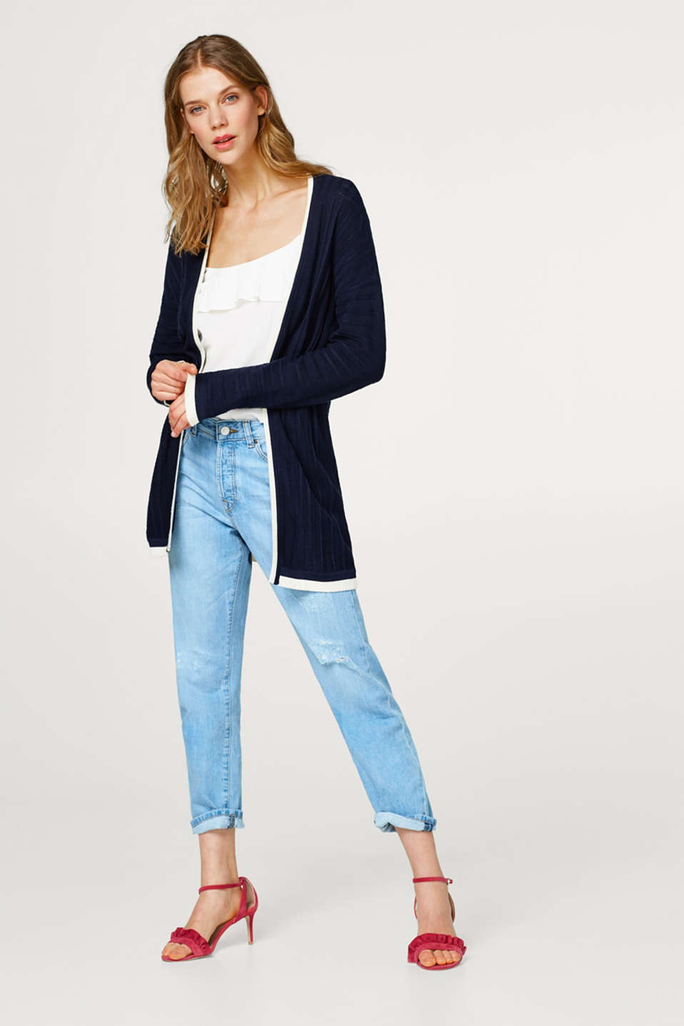 Long cardigan with textured stripes, 100% cotton
