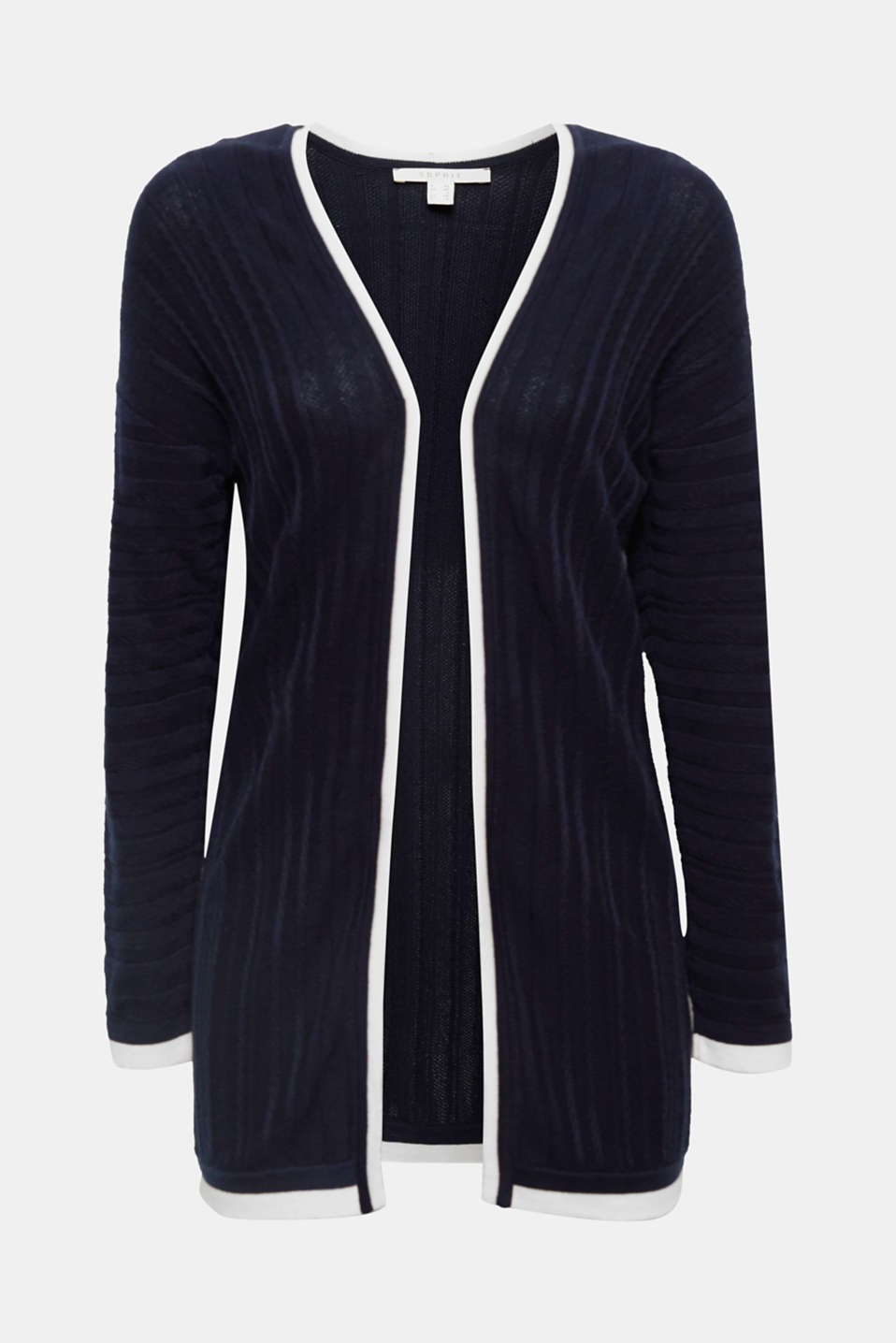 Sporty elegance meets soft lightness: this open cardigan will impress you with its different textured stripes and decorative contrasting colour trims!