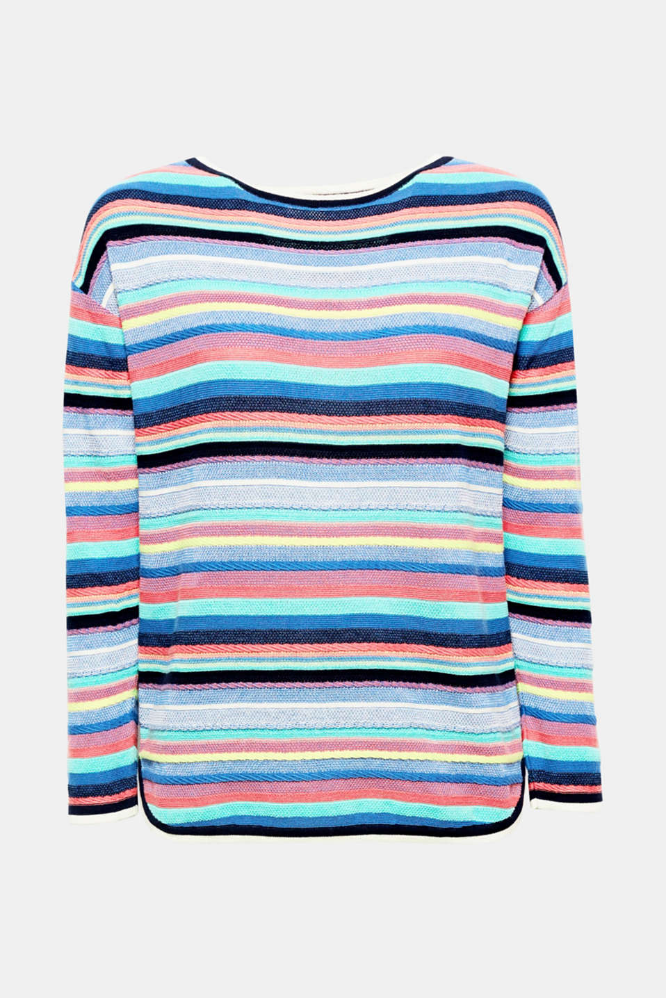 This cotton jumper with different textured stripes and contrasting trims in a nautical trend look is especially lightweight and soft!