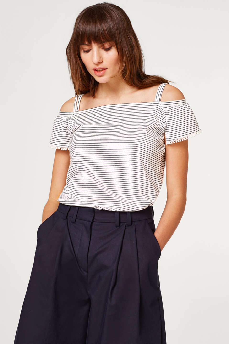 Esprit - Soft Carmen top with straps and stripes