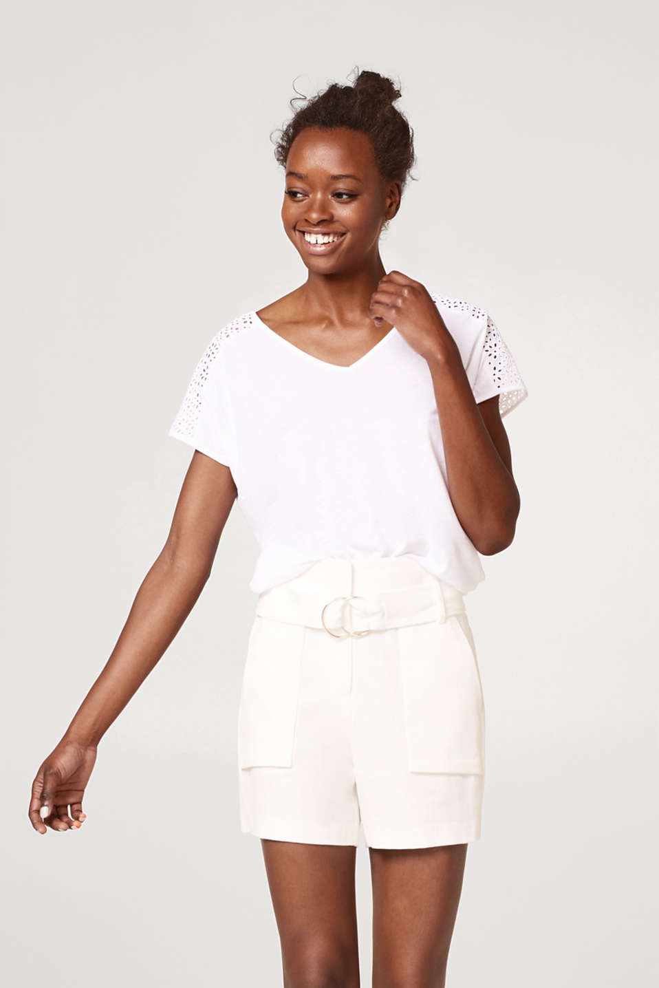 Esprit - Soft material mix top with broderie anglaise