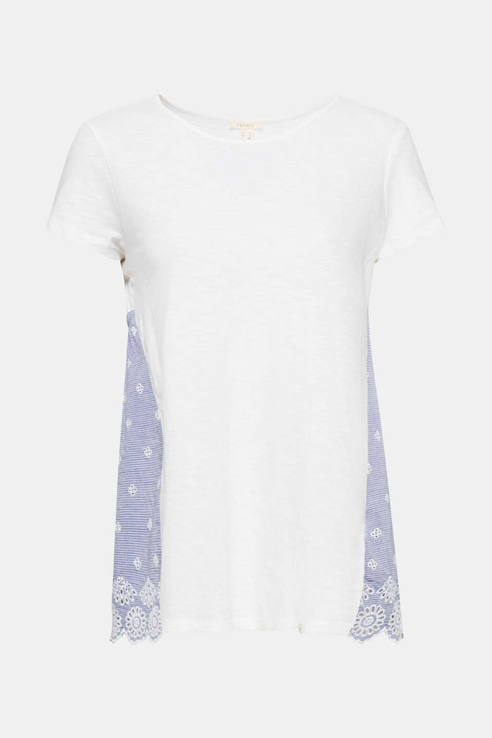 Easy to love: This slub T-shirt in an A-line impresses with high-quality Madeira embroidery, broderie anglaise and a scalloped hem at the back!
