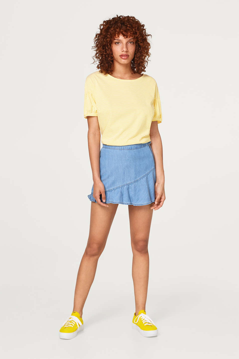 Top with puff sleeves and a drawstring, 100% cotton