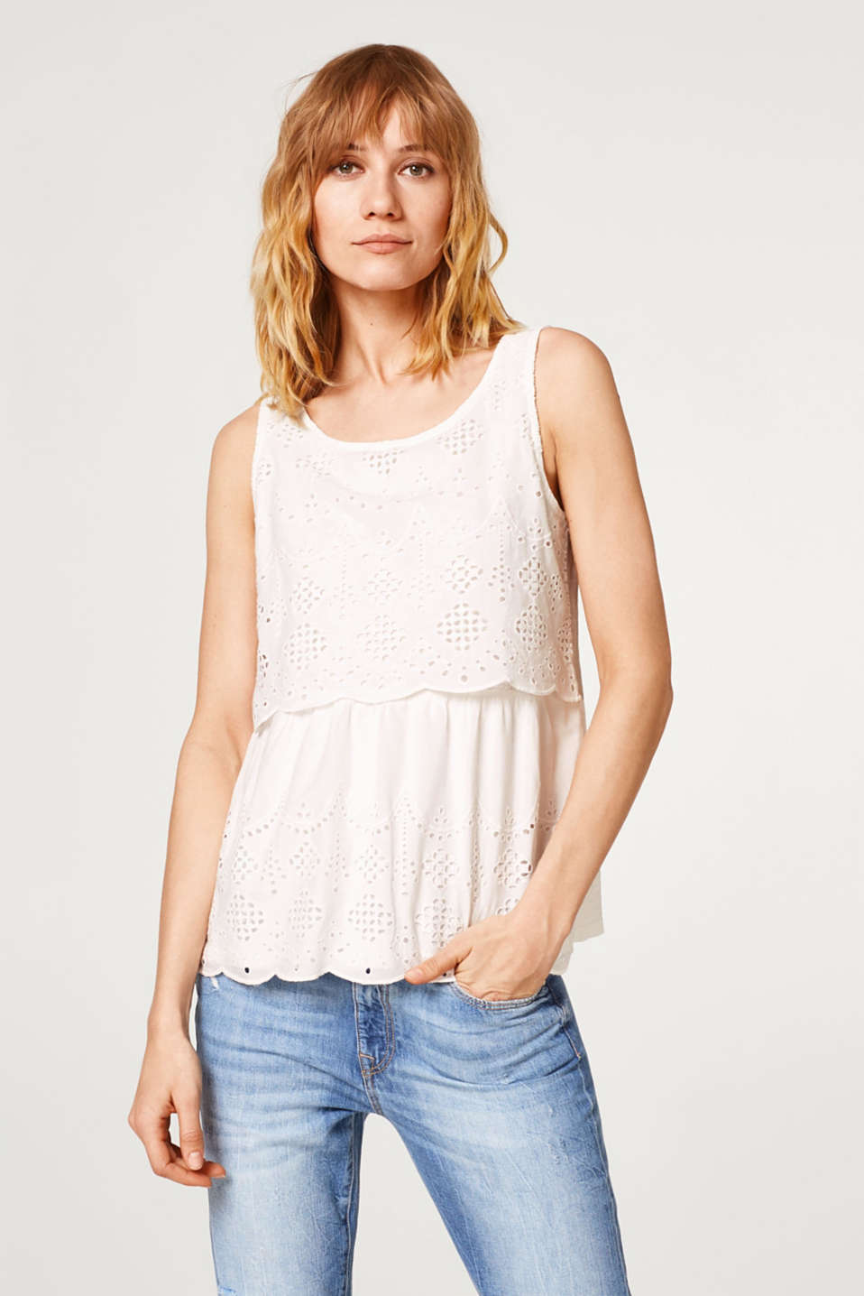 Esprit - Blouse top with broderie anglaise, 100% cotton