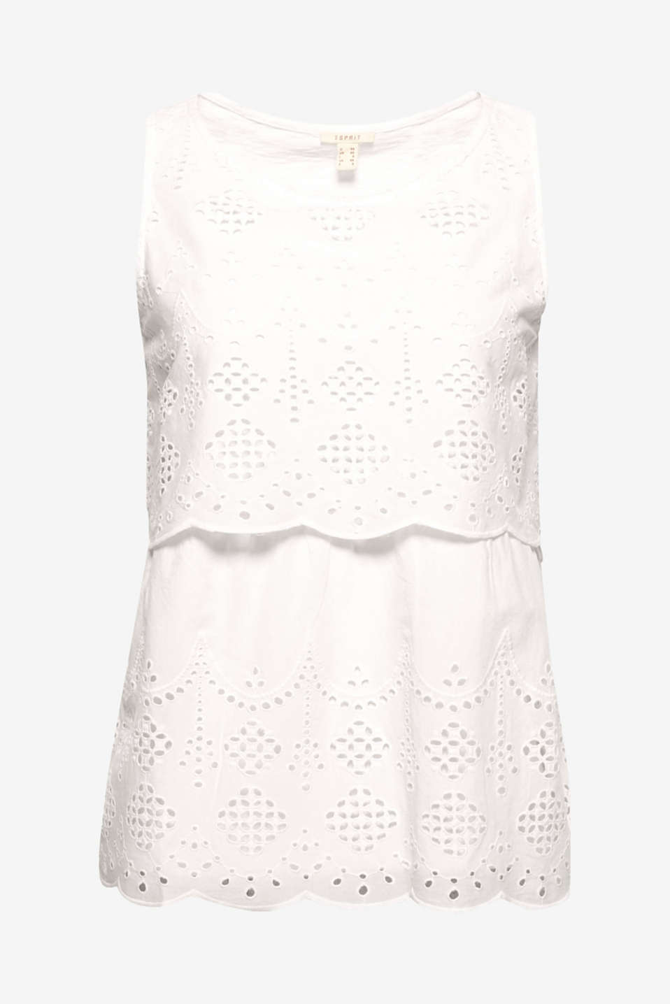 Airy broderie anglaise makes this summery blouse top composed of a comfy material mix a perfect piece for hot days!