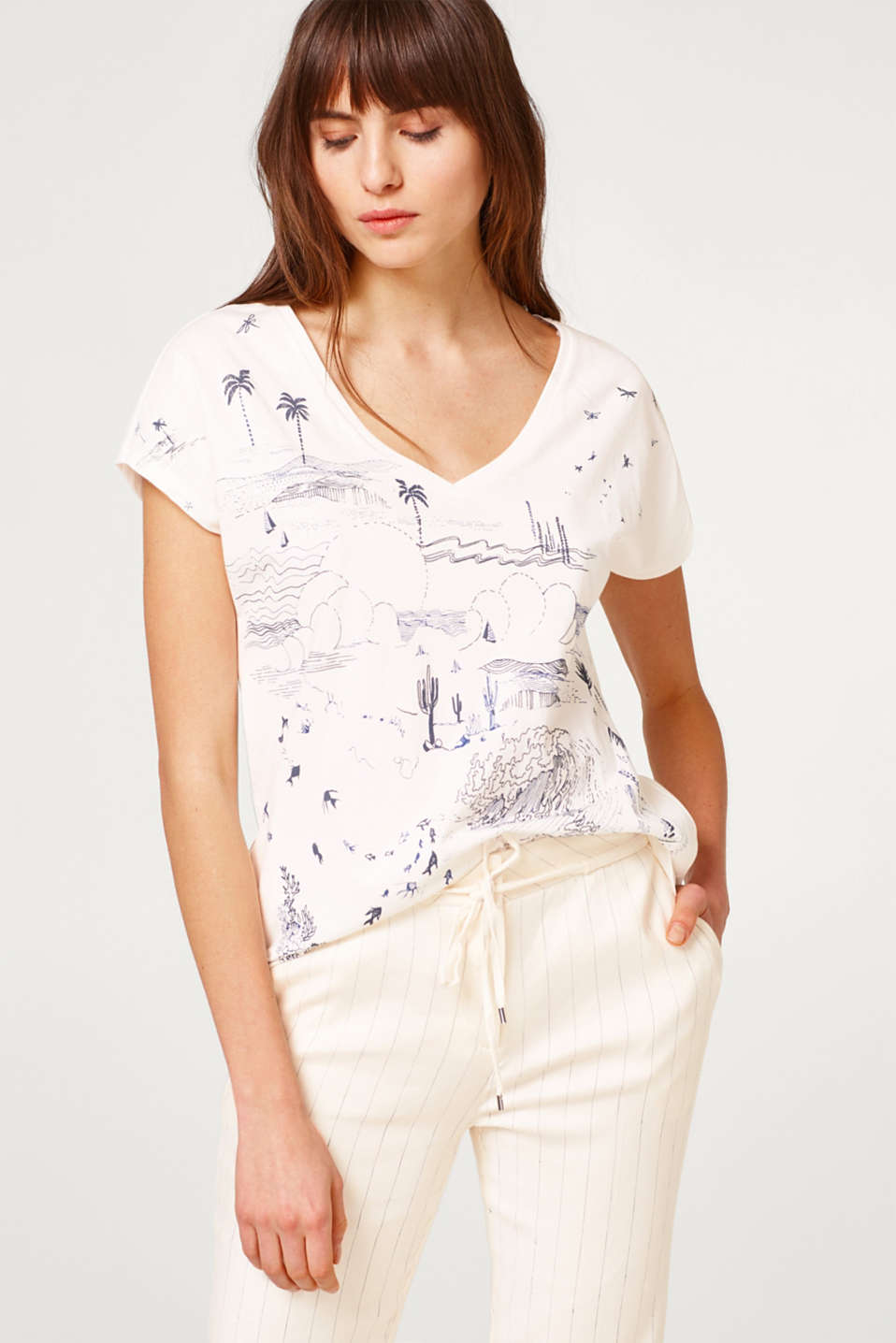 Esprit - T-shirt with a rubber-coated front print, 100% cotton
