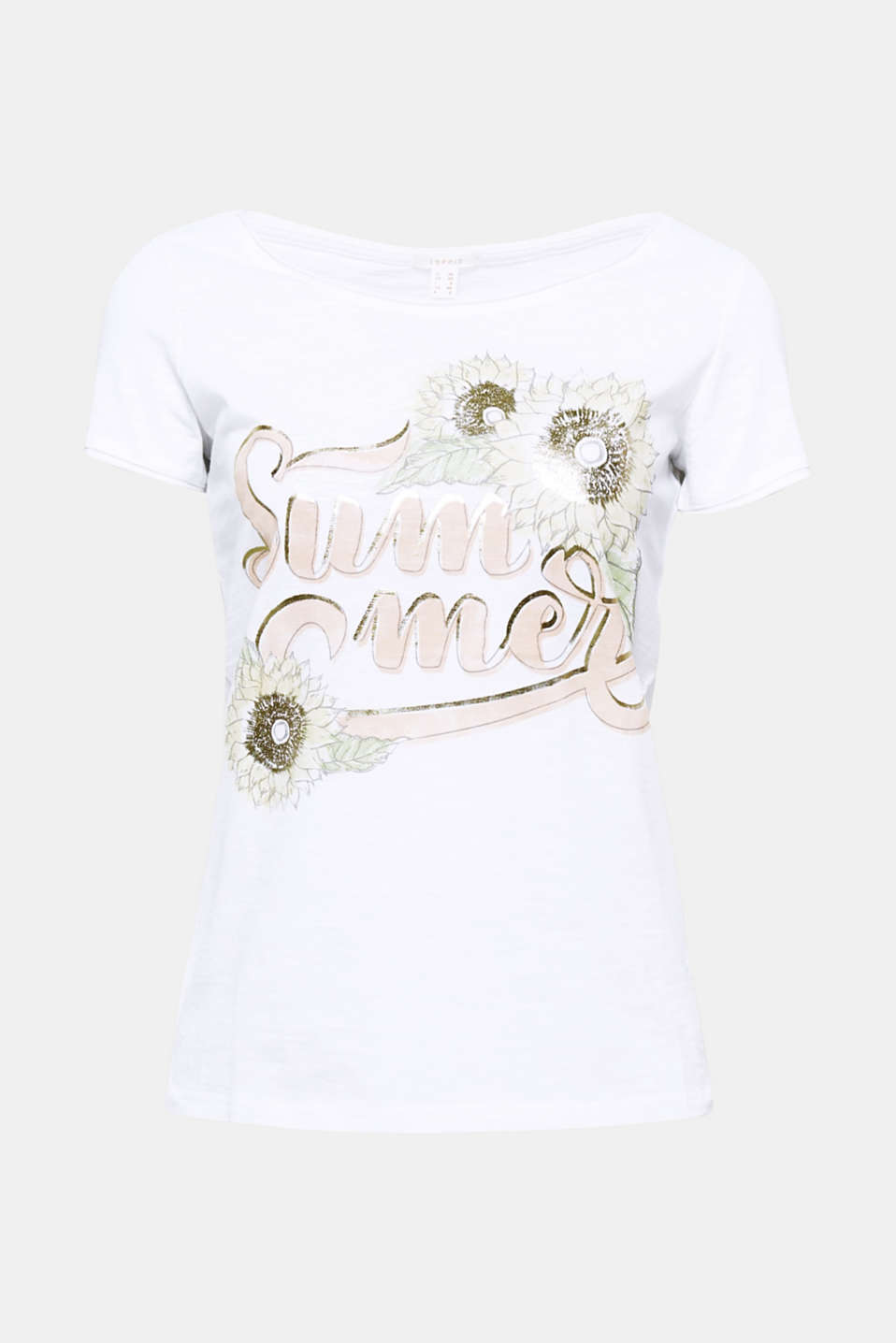 The decorative front print and fashionable, shimmering detailing give this airily textured slub T-shirt its sensational, summery vibe!