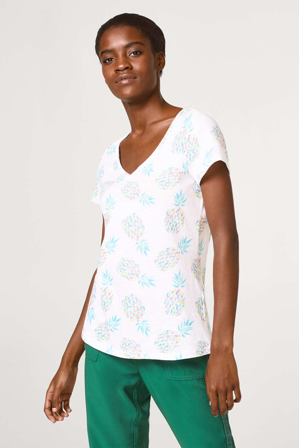Esprit - Slub T-shirt with a colourful pineapple print