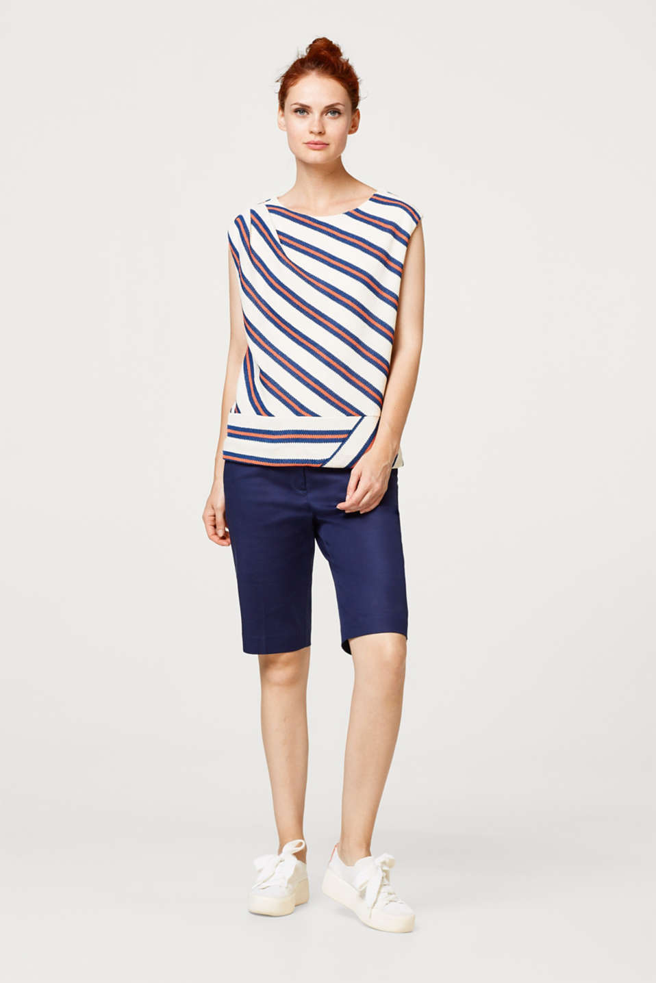 Esprit - Textured jersey top with diagonal stripes