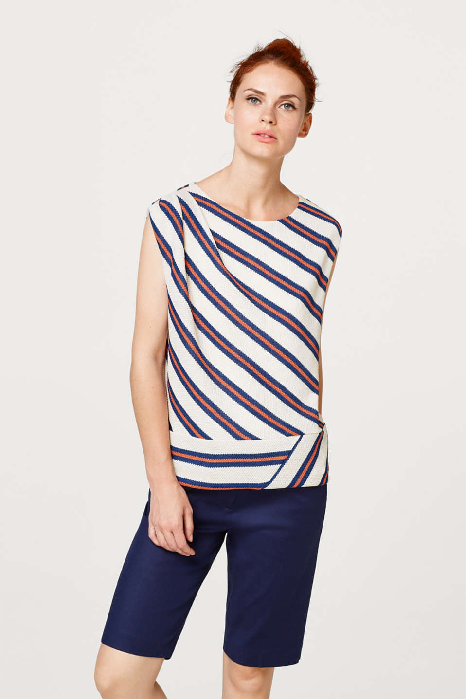 Textured jersey top with diagonal stripes