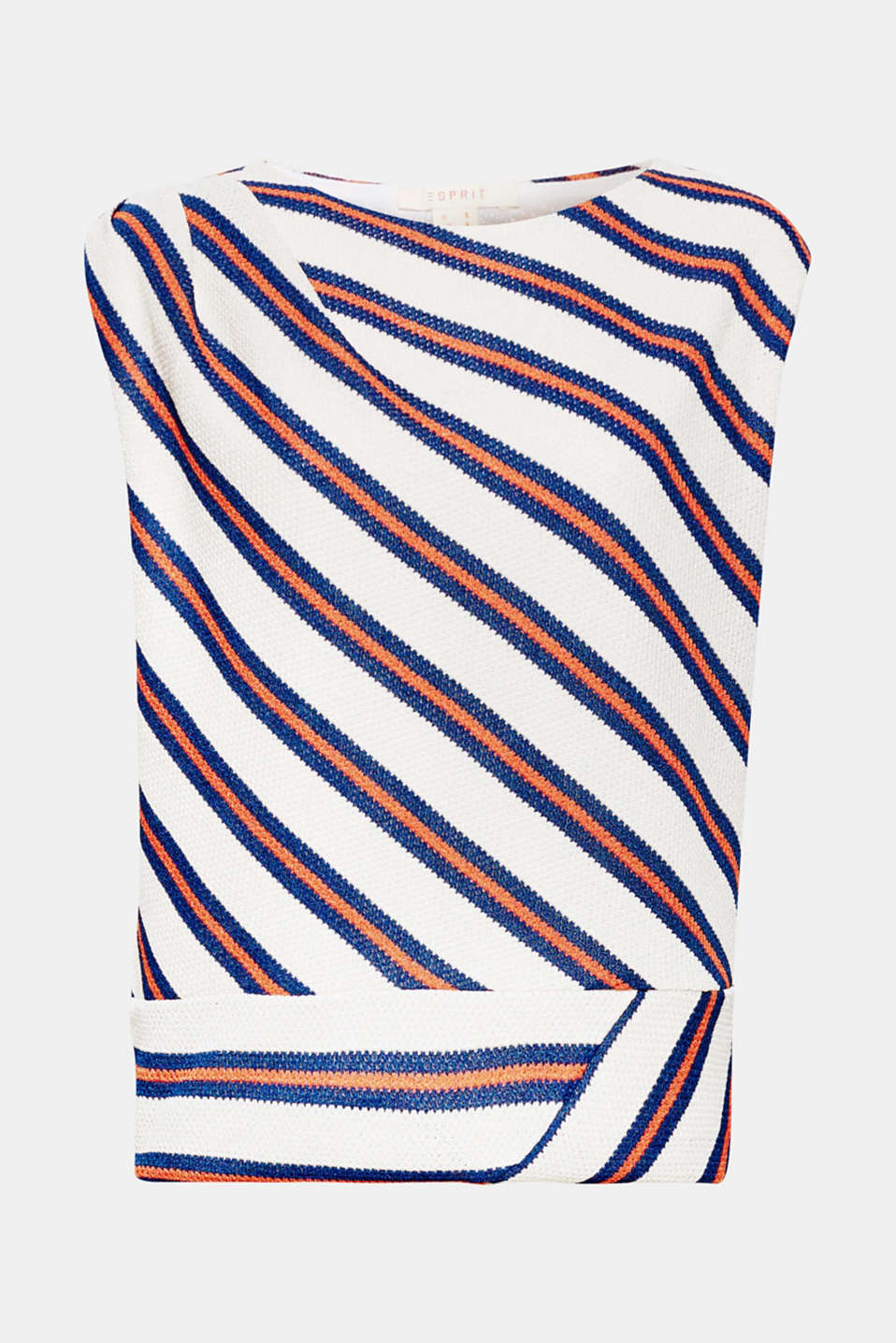 Gives any pair of trousers or skirt a fashionable boost: soft draped top made of thick, textured jersey with diagonal stripes, shoulder pleats and wide waistband!