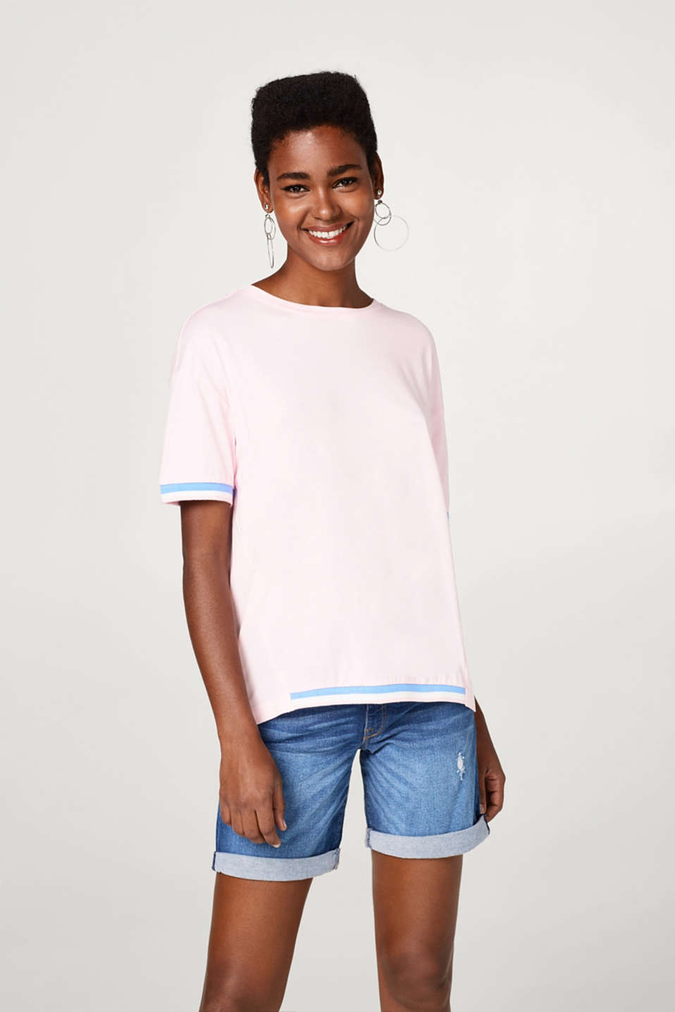 Esprit - Oversized T-shirt with sporty ribbed cuffs