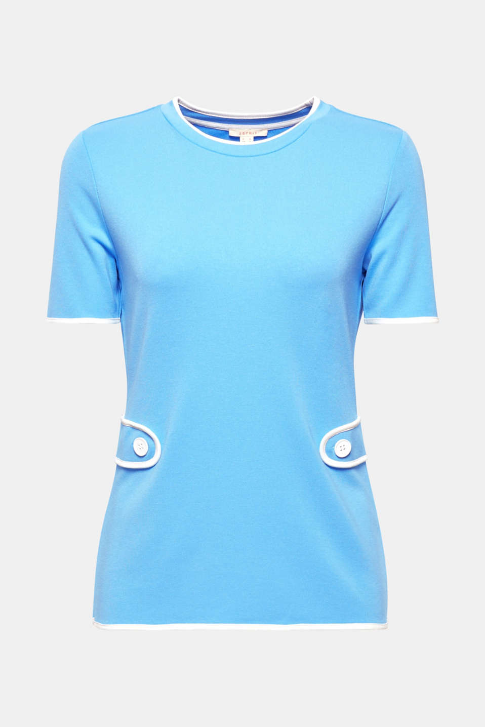 So retro, so feminine: the contrasting colour piping and emphasised waist featuring fancy buttons make this fitted T-shirt finished in dense, premium jersey with added stretch for comfort look totally authentic!