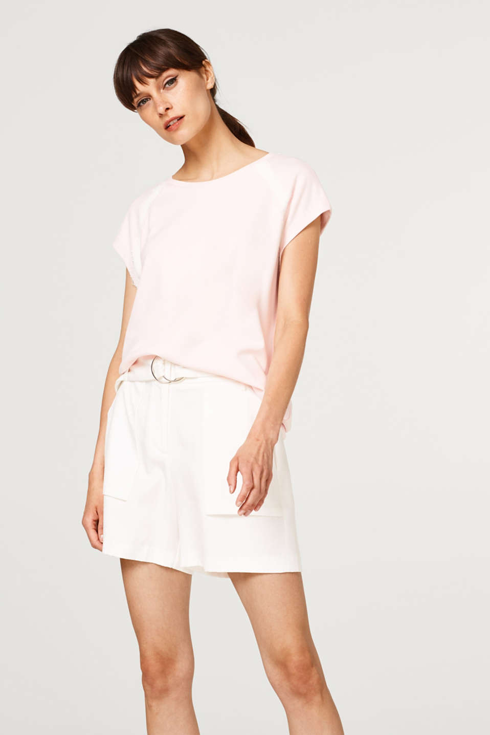 Esprit - Thick stretch jersey T-shirt with lace