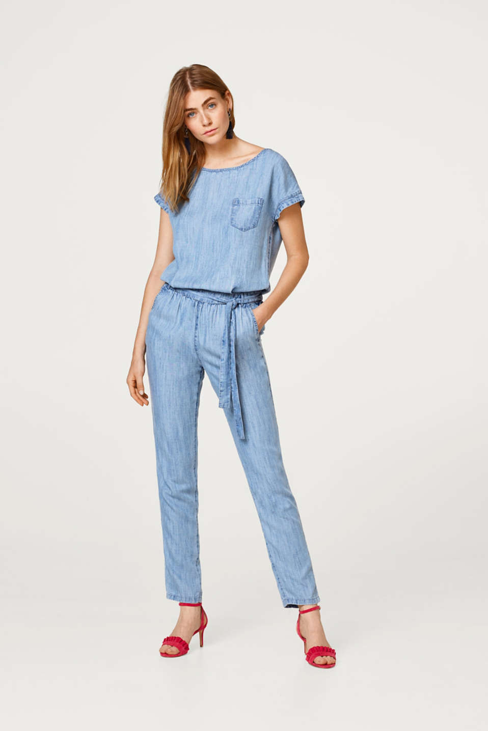 Esprit - Denim-effect jumpsuit in lightweight lyocell