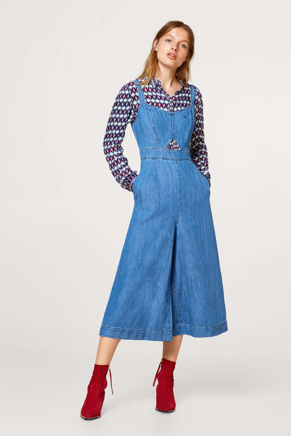 Esprit - Denim jumpsuit with a wide leg, made of 100% cotton