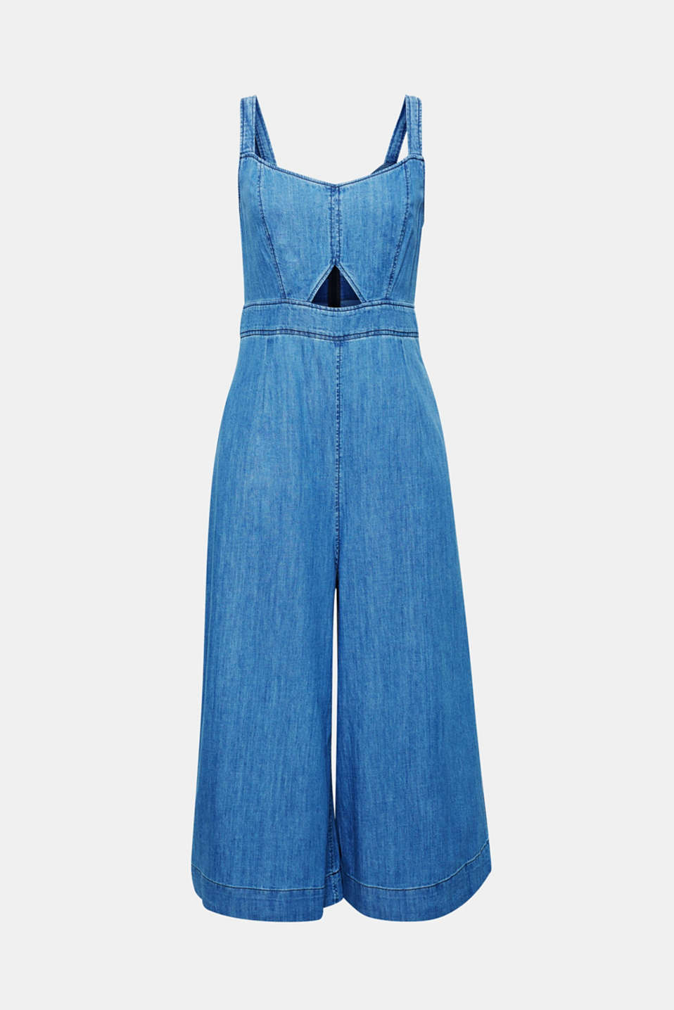 A new denim favourite for your wardrobe, this jumpsuit comes in soft denim made of pure cotton and is defined by the fashionably wide, figure-skimming leg in a 7/8 length.