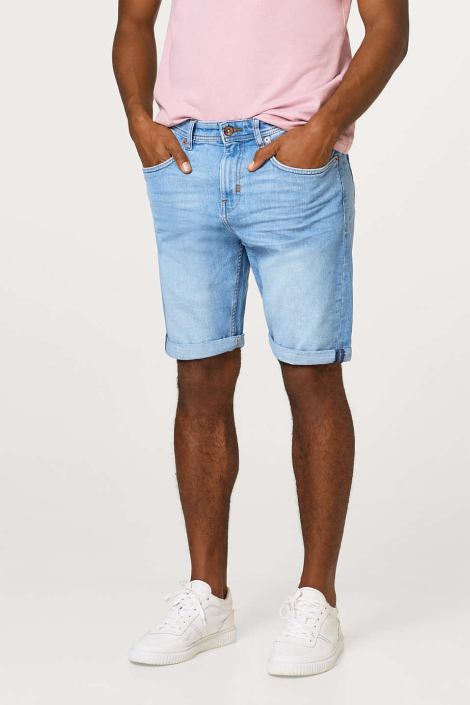 Esprit - Denim short met veel stretch en destroyed effecten