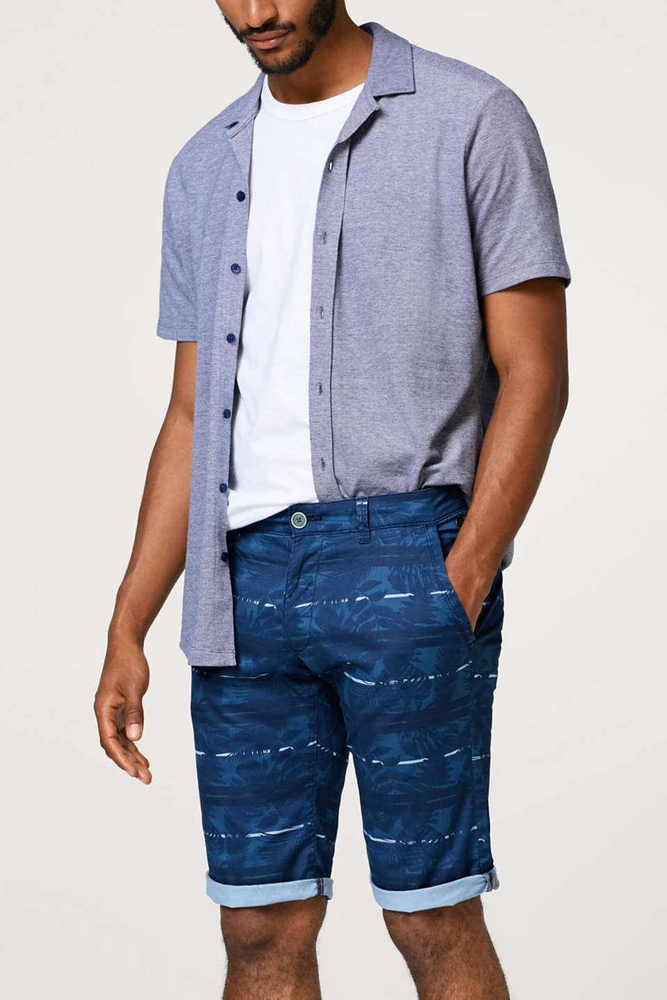 Esprit - Short chino à rayures, au confort stretch
