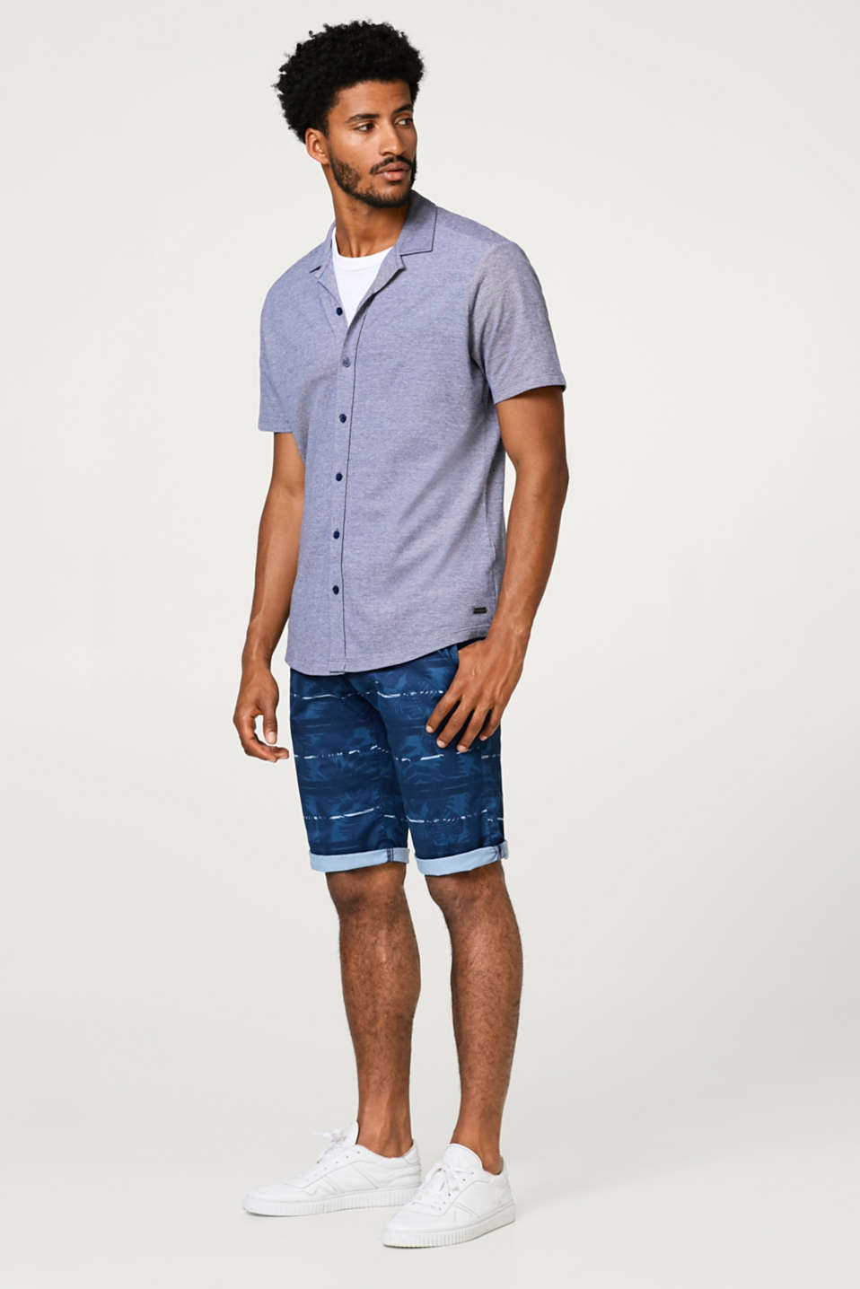 Short chino à rayures, au confort stretch