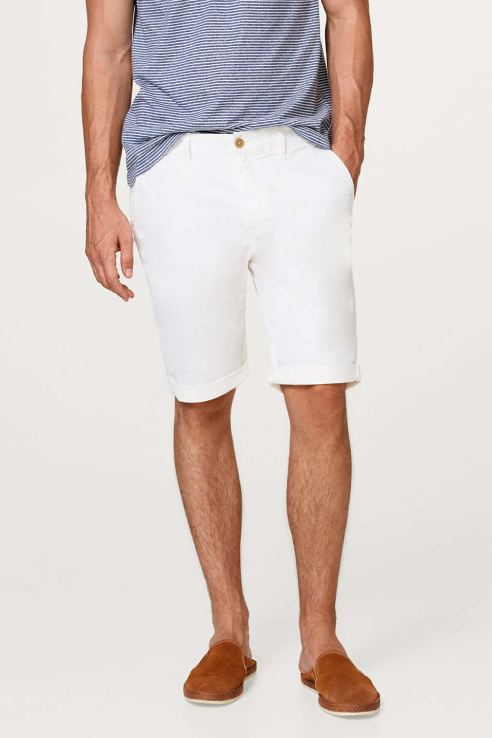 Esprit - Stretch Bermudas with textured stripes