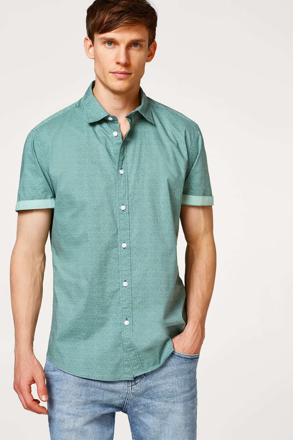 Esprit - Short sleeve shirt with an all-over print, made of cotton