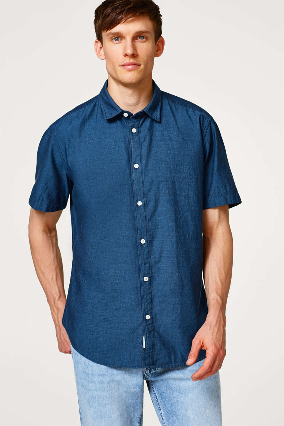 Esprit - Short sleeve shirt in lightweight cotton denim