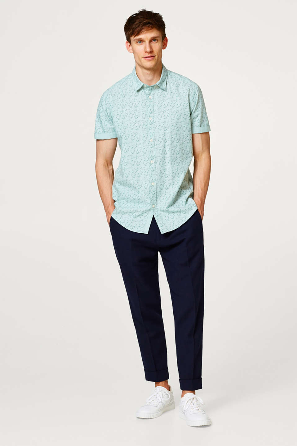 Cotton short sleeve shirt with a floral print