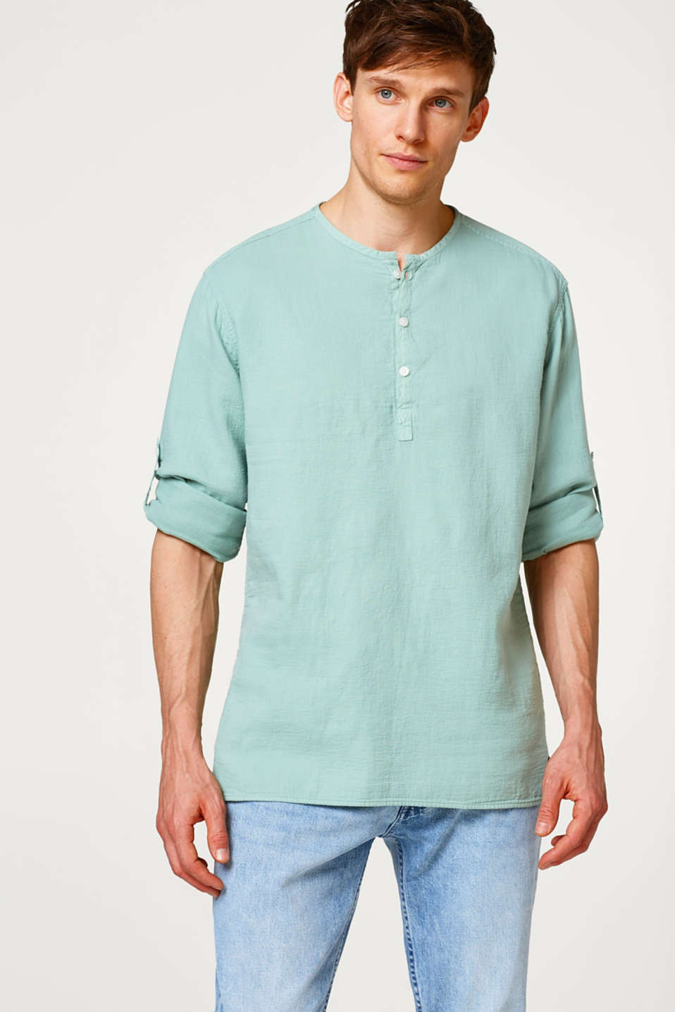 Esprit - Shirt with a Henley neckline, made of cotton