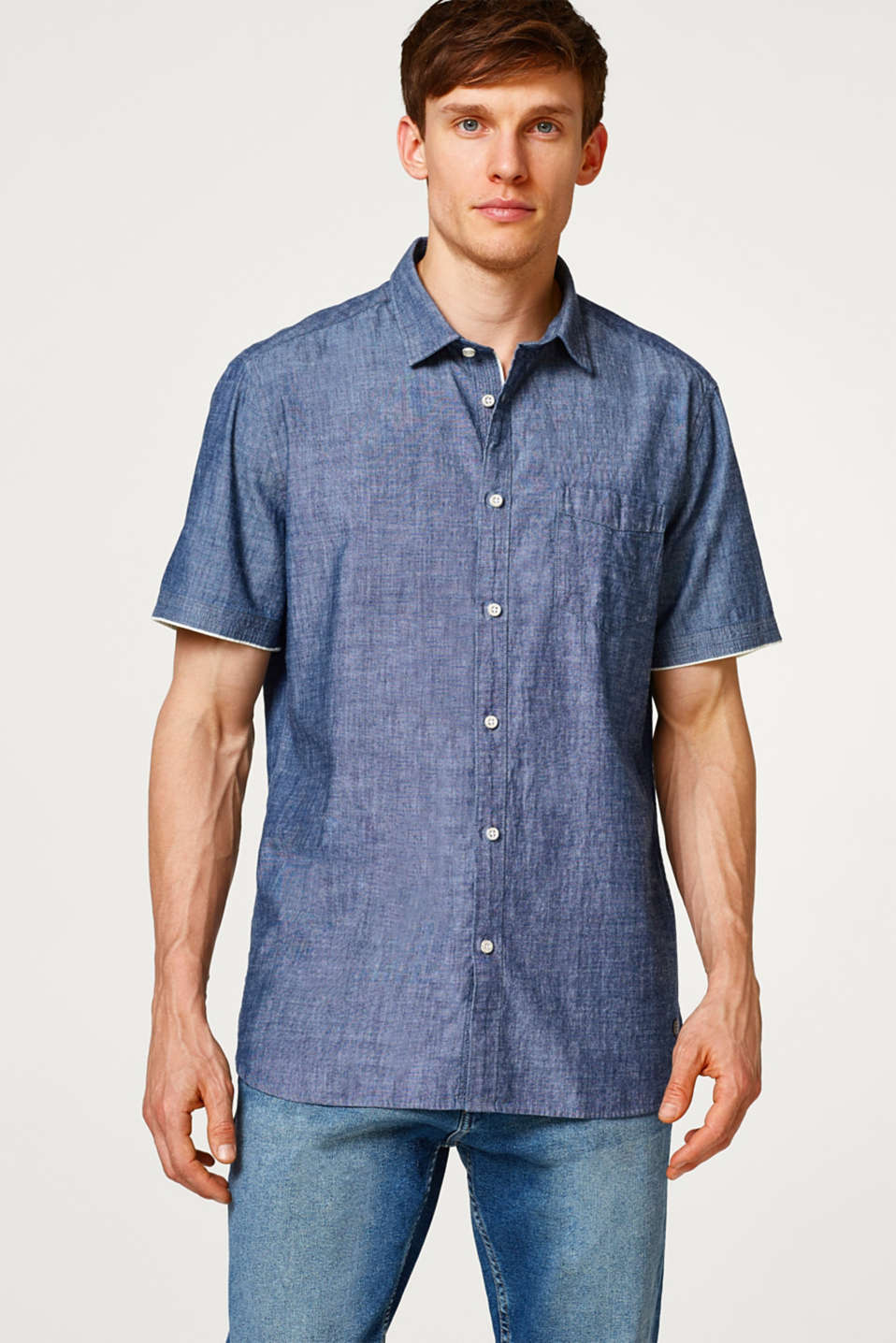 Esprit - Short sleeve shirt made of cotton chambray