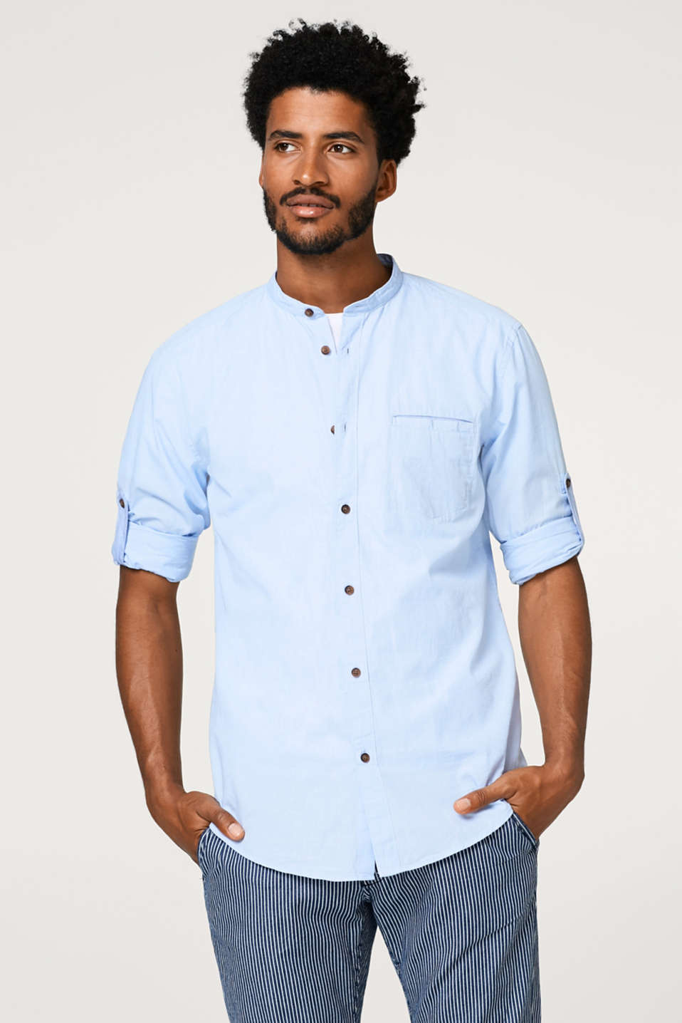 Esprit - Finely textured, two-tone shirt in 100% cotton