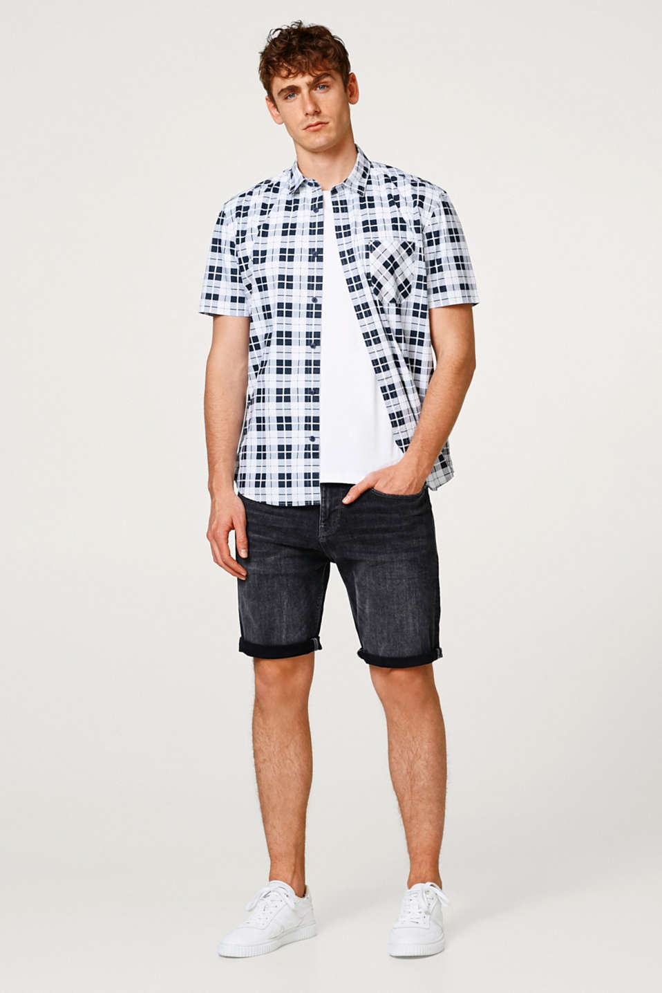 Short sleeve shirt with a check pattern, 100% cotton