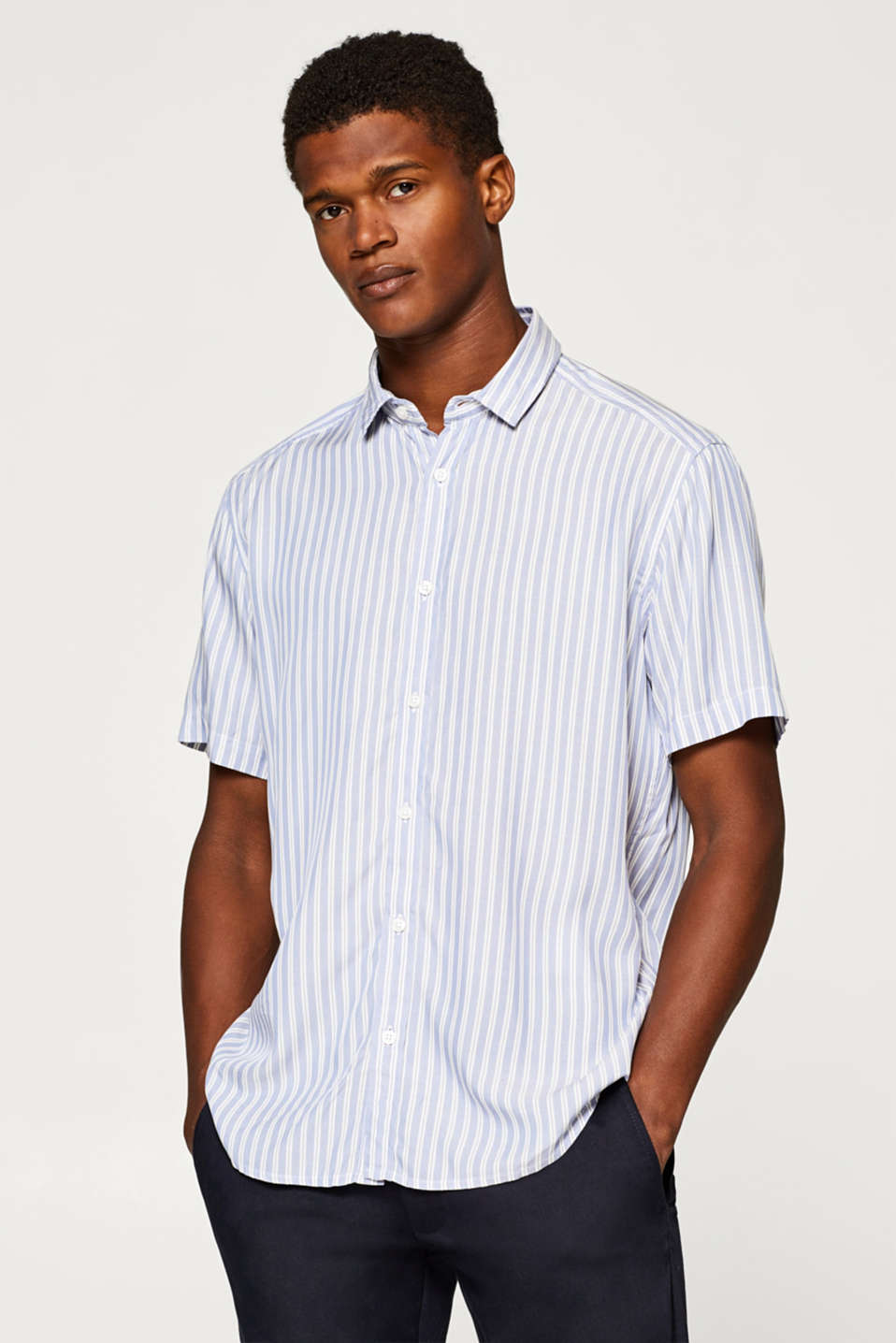 Esprit - Short sleeve shirt with stripes, 100% viscose