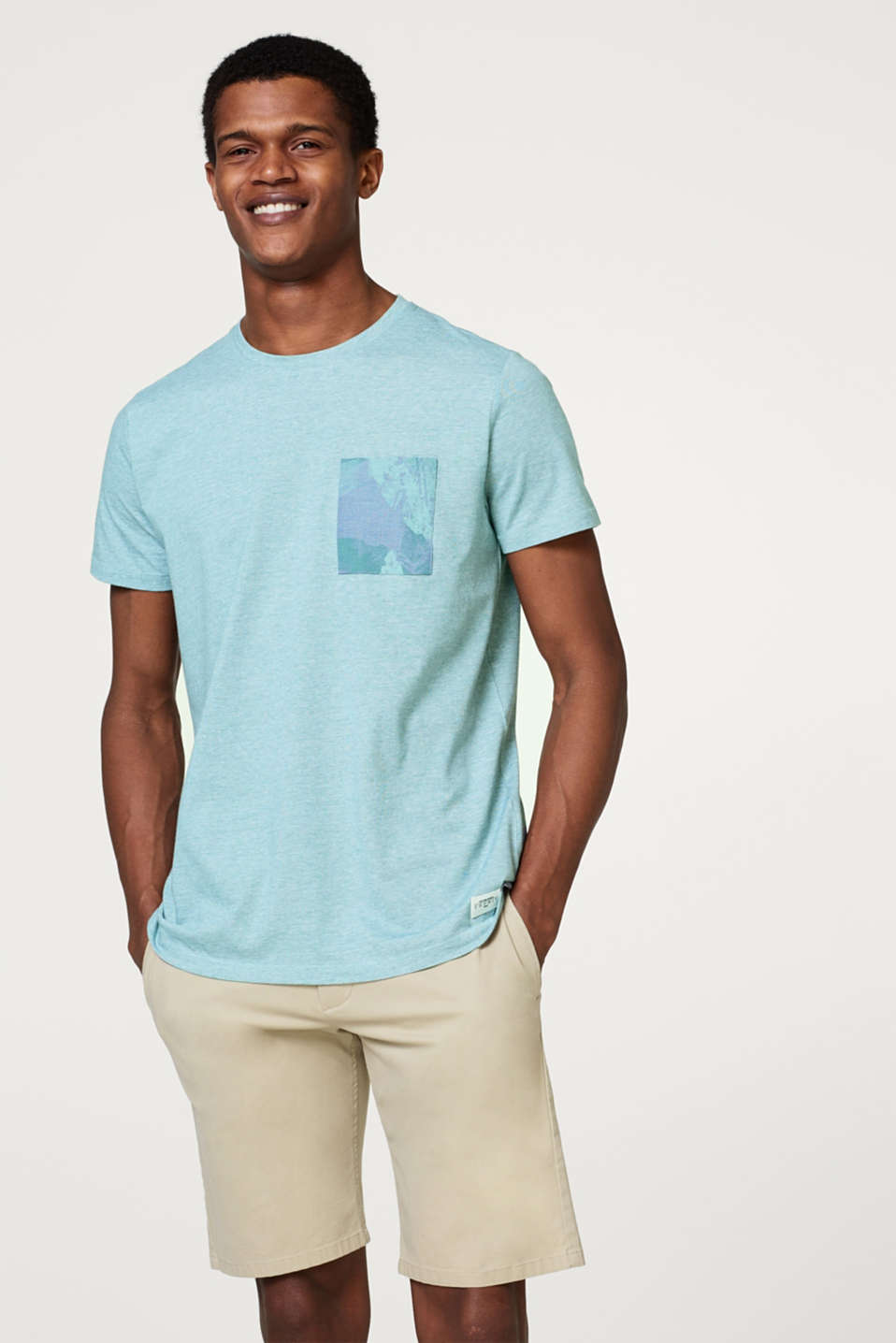 Esprit - Melange jersey T-shirt with print breast pocket